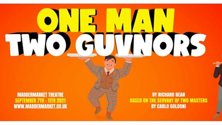 Sound Ideas production of One Man Two Guvners runs at the Maddermarket Theatre in Norwich. 7th - 11th September 2021.