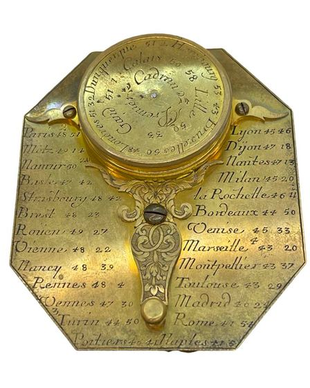 Pictured here is a brass pocket 'Butterfield' sundial and compass c.1700