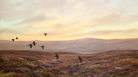 Colin Burns' (b.1944) scene of game birds and heather on the Scottish moors titled
