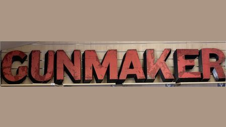 The Gunmaker sign which sold for £850 at The Rostrum's first auction.