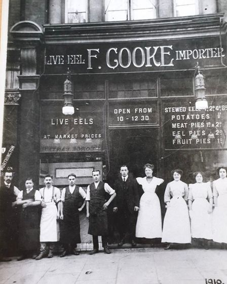 The opening of the family's first shop in Dalston's Ridley Road Market in 1910.