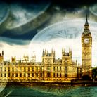 Famous London Tourist attraction Big Ben and the Houses of Parliament in England, with stacks of Eng