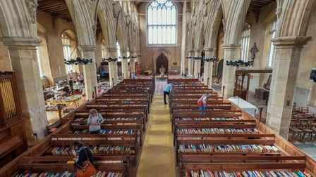 Cley church was filled with books for a two-day sale.
