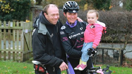 Cycling champs, Barney and Sarah Storey and daughter, Louisa (18months) at Goostrey