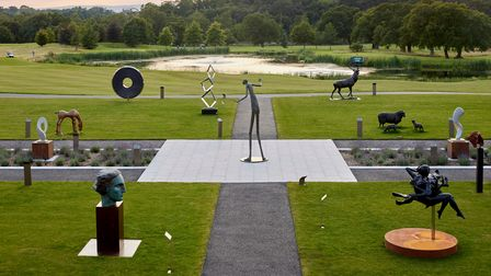 View across the Sculpture Garden to beautiful green countryside