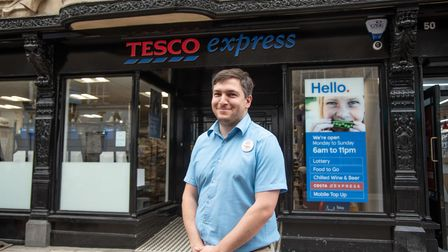 Manager Chris Pines outside the new Tesco Express in Tavern Street, Ipswich, which is due to open on September 6