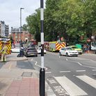 Emergency services at the scene in West End Lane