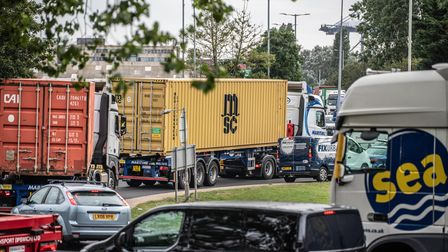 Gridlocked traffic in Felixstowe after an oil spill on the westbound A14. Picture: Sarah Lucy Brown