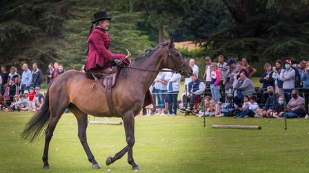 A woman riding sidesaddle on a brown horse at Audley End, Saffron Walden, Essex