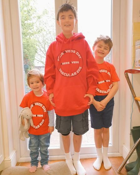Hugo with his brother Felix(right), and sister Ophelia on Reds4VEDS day.