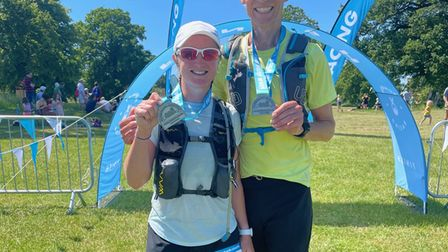 Ali and Kim Hutt at the end of a 50km race … just another training run!