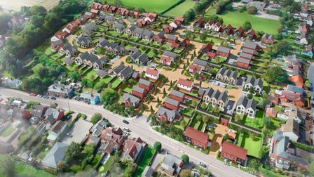 An artist's impression of a new 89-home housing estate in Newport, Essex