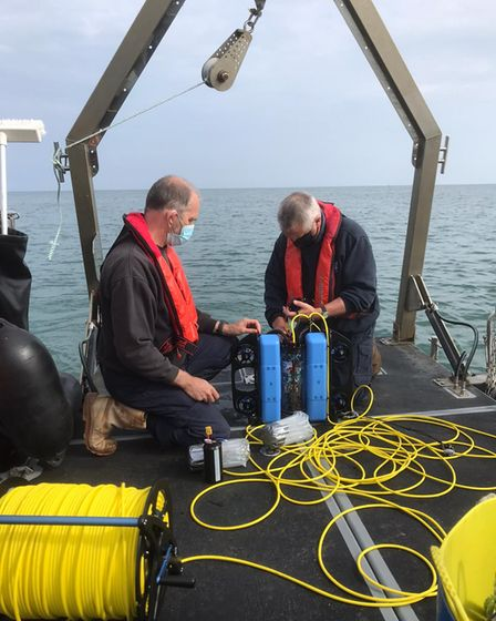 Marine science officers testing out the Eastern IFCA's new BlueRov2