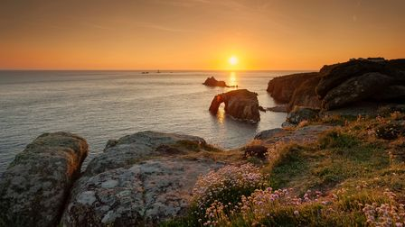 Sunset at Lands End, Cornwall, mainland Britain's most westerly spot