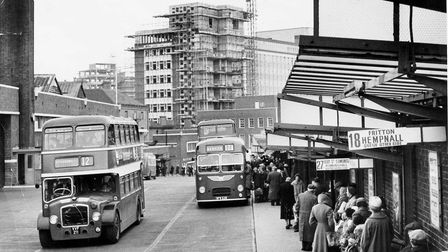 Norwich Bus Station with Norwich Union Building construction in the background in 1961