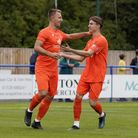 Lowestoft Town players Jake Reed and Sam Johnson celebrate after Reed scored in The Trawlerboys 4-2 defeat at Leiston.