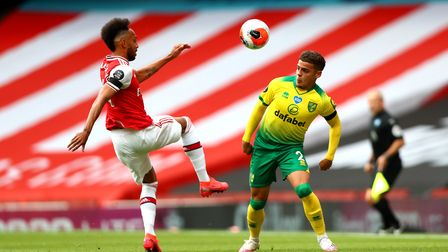 Pierre-Emerick Aubameyang of Arsenal and Max Aarons of Norwich City during the Premier League match
