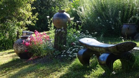 South Heighton Pottery pieces on display in the garden as part of ArtistsOpenHousesFestival in Brighton in June 2021