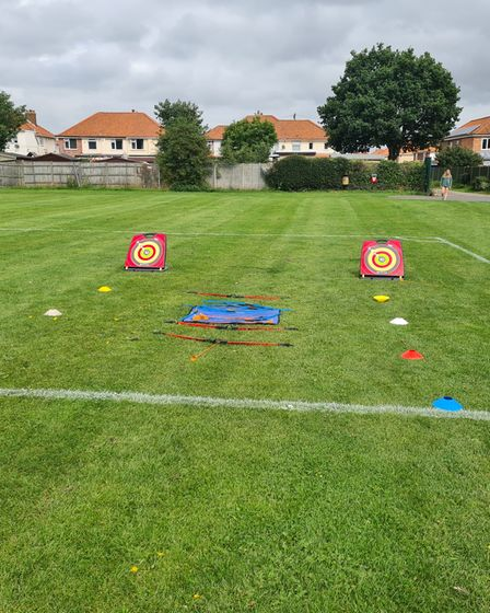 Sports activities set up for the SYEP day of fun at the recreation ground