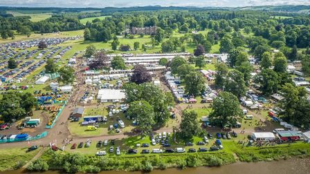 An aerial view of the Scottish Game Fair at Scone Palace