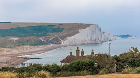 A view of theCoastguard Cottages at Seaford, towards Seven Sisters