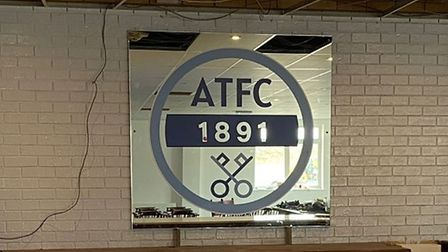 The new badge of Arlesey Town Football Club will take pride of place behind the new of their newly-revamped clubhouse.