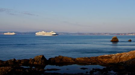 Cruise ships in the bay. Looking across from Meadfoot beach