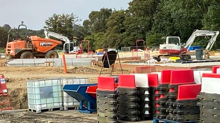 Work under way on the first homes at Trewlawny Place at Felixstowe