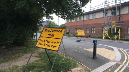Road closure sign on Old Hertford Road junction with the Great North Road in Hatfield.