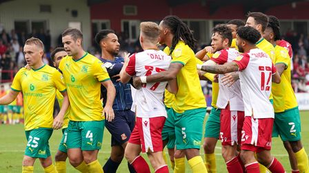 Tempers flared at the end of the game between Stevenage and Swindon Town after the home side were denied a penalty.