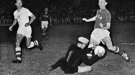 Czech goalkeeper Viliam Schrojf saves the ball against Soviet Union's player during the European Na