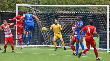 Barking in FA Cup action against Ilford at Mayesbrook Park