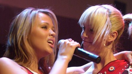 Kimberley Walsh and Sarah Harding, right, fromGirls Aloud at Time nightclub in Norwich in 2004.