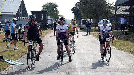 Some of those taking part in Ride for Helen at Trinity Park, Ipswich