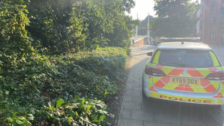 A police car and cordon is in place at Norwich Riverside