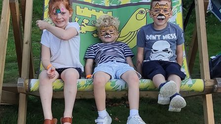 Youngsters enjoying the Norwich City Fans Social Club family fun day at The Nest