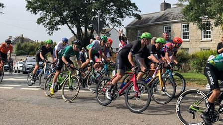 Thepelotonas they enter Camborne in the Depart stage of the Tour of Britain