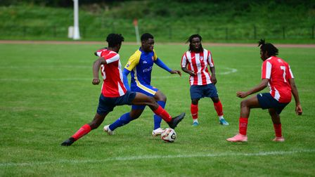 Athletic Newham and Clapton in action at the Newham Leisure Centre