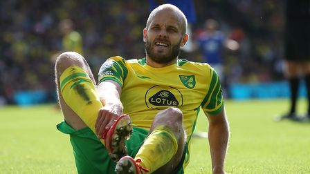 Teemu Pukki of Norwich takes a knock during the Premier League match at Carrow Road, Norwich Pictur