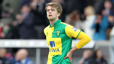 Patrick Bamford of Norwich looks dejected at the end of the Barclays Premier League match at the Lib