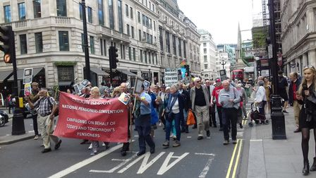 Hornsey Pensioners Action Group protesting in London at the National Pensioners Convention marching
