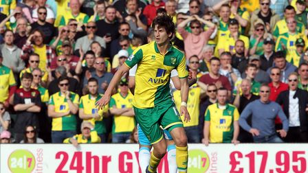 Timm Klose of Norwich in action during the Barclays Premier League match at Carrow Road, Norwich Pi
