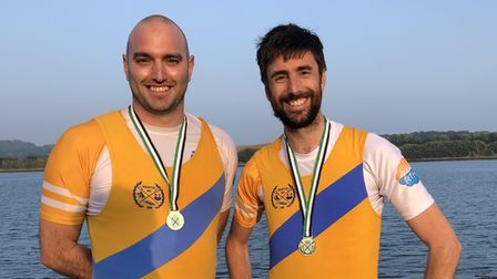 Paignton's Rob Harris (left) and Mike Lister (right) winners of the Men's Open coxless pairs.