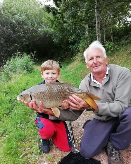 Bob Wooster and Jack with a Nerwbarn Common Carp