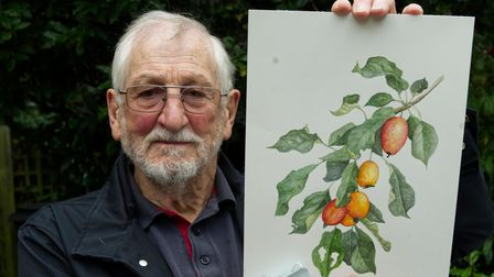 David Shillito with his painting at Highgate Horticultural Society Autumn show 2021