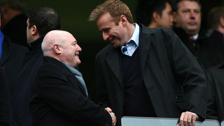 Chelsea chief executive Peter Kenyon with Head of Communications Simon Greenberg (right)