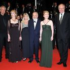 (Left to right) Dick Pope, Ruth Sheen, Georgina Lowe, director Mike Leigh, Lesley Manville and Jim B