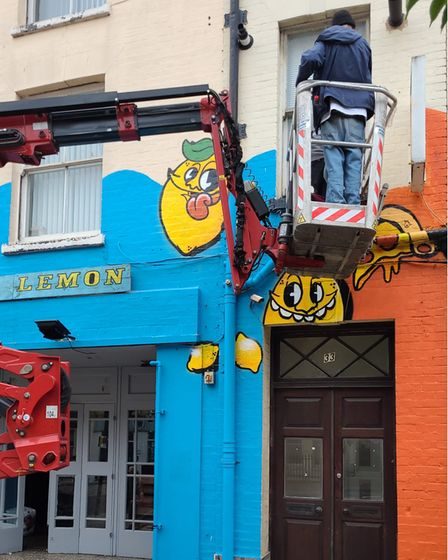 Norwich-basedgraffitiartistsFoie Graswere commissioned to create a mural for the Sherbet Lemon and Fat Fox Pizza Den