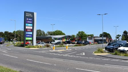 The Gateway Retail Park in south Lowestoft, with the 'To Let' sign highlighting a vacant unit.