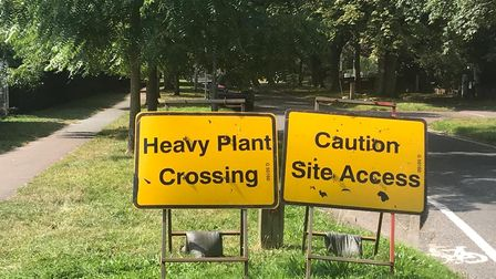 Signs were erected at Heigham Park this afternoon as work began on the construction of three new tennis courts.